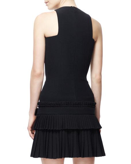 Fitted Buckled Kilt-Skirt Tank Dress, Black