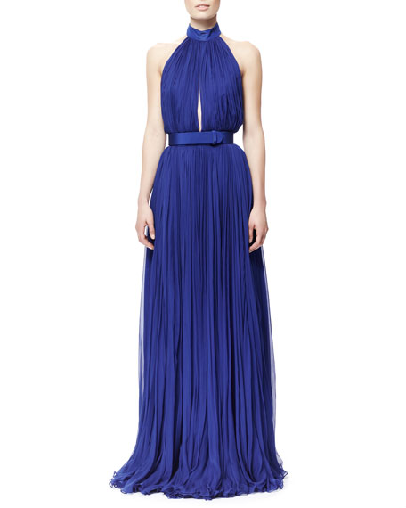 Pleated Harness-Back Chiffon Gown