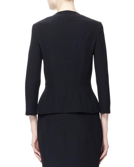 Four-Pocket Crepe Zip Jacket, Black