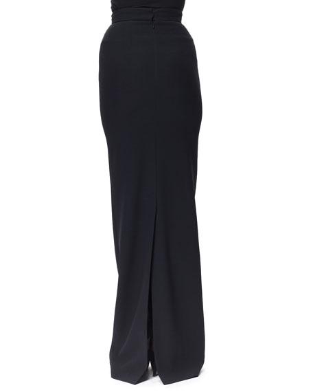 Long Crepe Column Skirt, Black