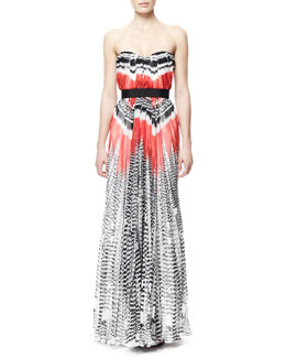 Alexander McQueen Feather-Print Strapless Chiffon Gown, Red/White/Black