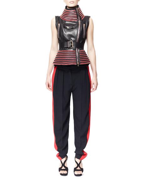 Side-Stripe Leaf Crepe Pants, Black/Red
