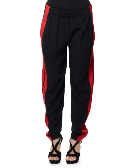 Side-Stripe Leaf Crepe Pants, Black/Red