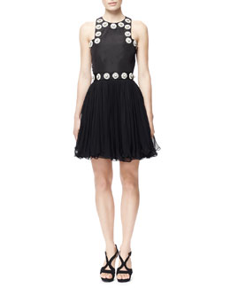 Alexander McQueen Plexi Flower-Embroidered Faille Dress, Black