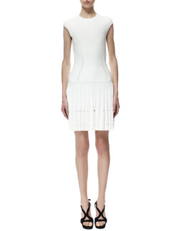 Alexander McQueen Cap-Sleeve Knit Cutout Plisse Dress, White