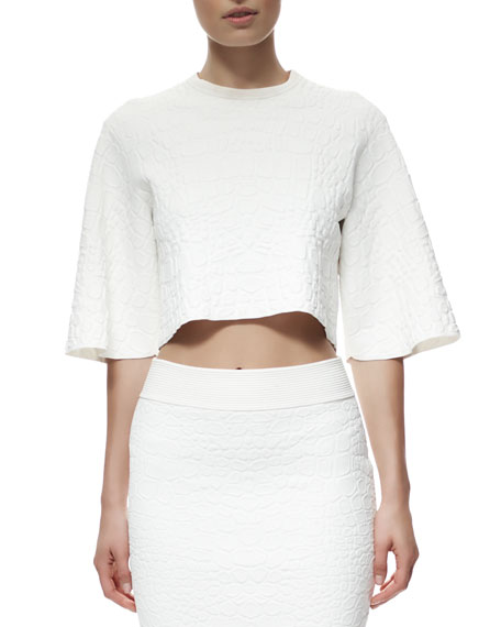 Crocodile-Embossed Crop Top