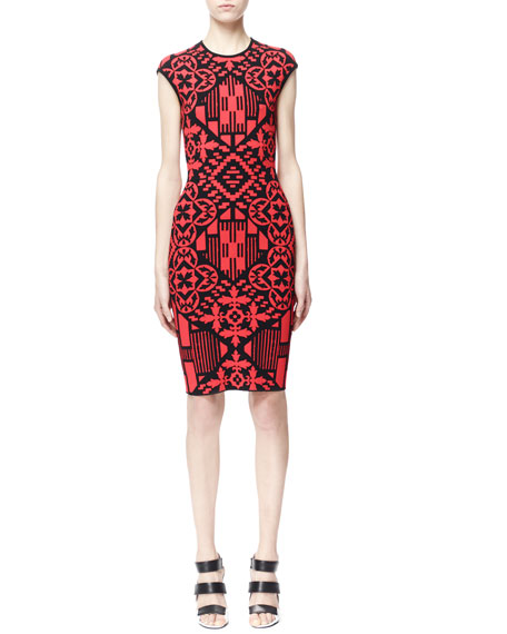 Sleeveless Digital & Damask Jacquard Dress, Black/Red