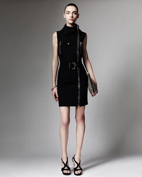 Sleeveless Biker Zip Dress, Black