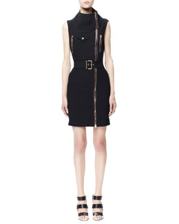 Alexander McQueen Sleeveless Biker Zip Dress, Black