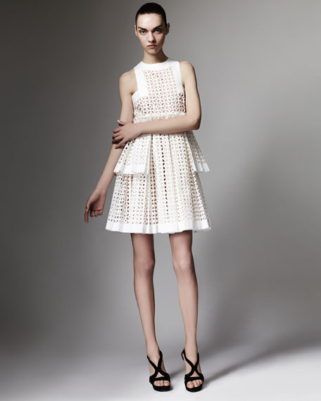 Tiered Laser-Cut Cotton Dress