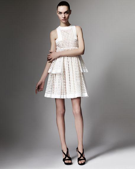 Tiered Laser-Cut Cotton Dress