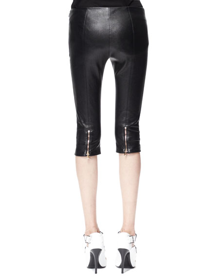 Leather Zip-Cuff Capri Leggings