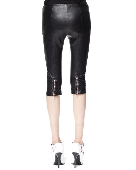 Leather Zip-Cuff Capri Leggings