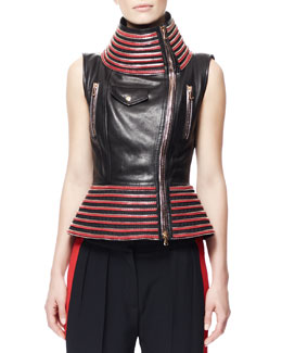 Alexander McQueen Zip-Trim Leather Motorcycle Vest, Black