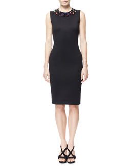 Alexander McQueen Sheath Dress with Hand-Beaded Collar, Black