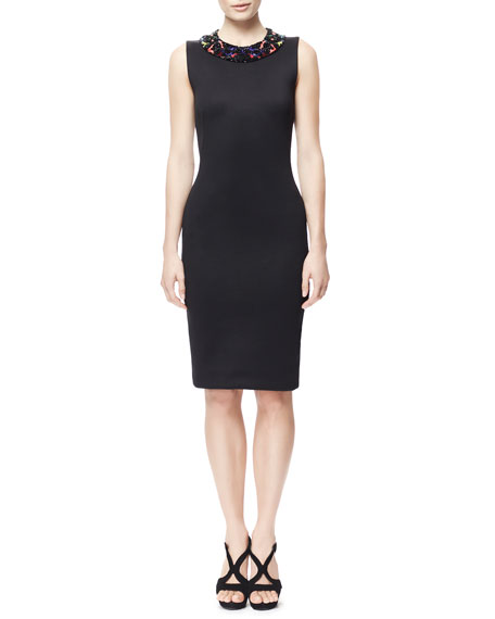 Sheath Dress with Hand-Beaded Collar, Black