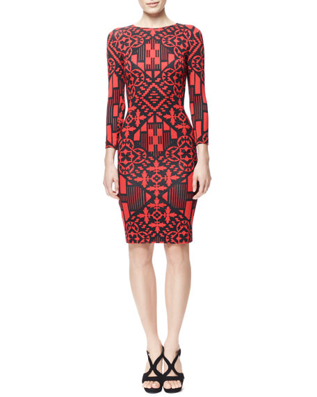 3/4-Sleeve Digital & Damask Jersey Dress, Black/Red