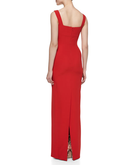 Column Gown with Cutout Bodice Detail, Red