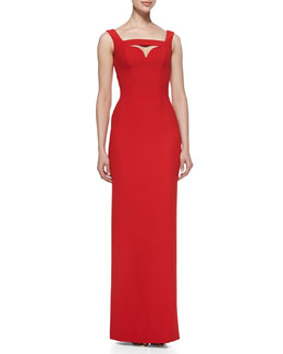 Alexander McQueen Column Gown with Cutout Bodice Detail, Red