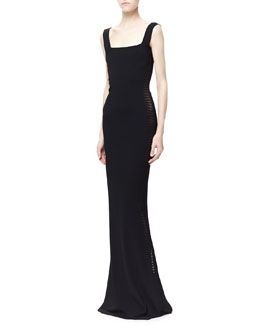 Alexander McQueen Sheer Spine-Paneled Gown, Black