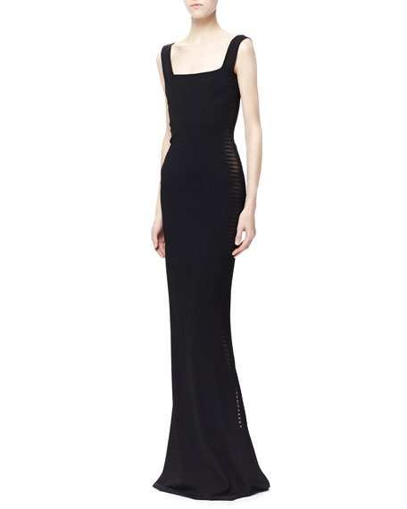 Sheer Spine-Paneled Gown, Black