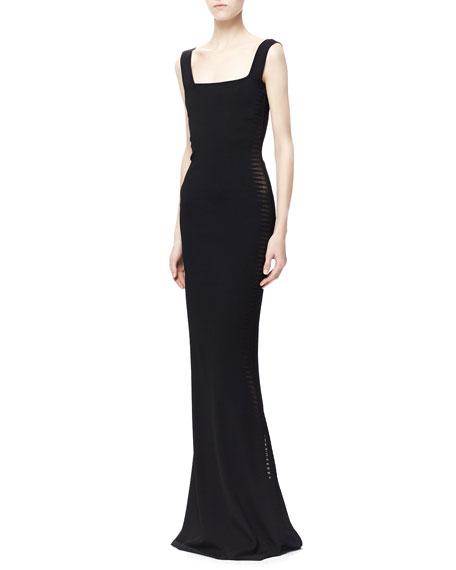 Sheer Spine-Paneled Gown, Black