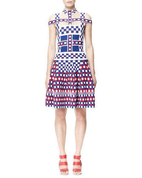Off-Shoulder Check Harness Dress