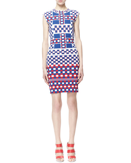 Graphic Check Cap-Sleeve Dress, Blue/White/Red