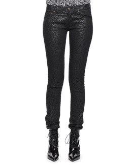 Saint Laurent Nightrider Shiny Babycat Pants