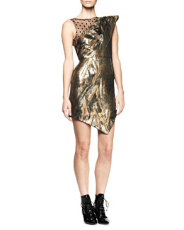 Saint Laurent Extreme One-Shoulder Metallic Dress