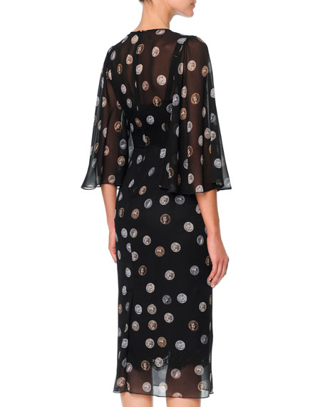 Chiffon Bell-Sleeve Midi Dress with Coin Print