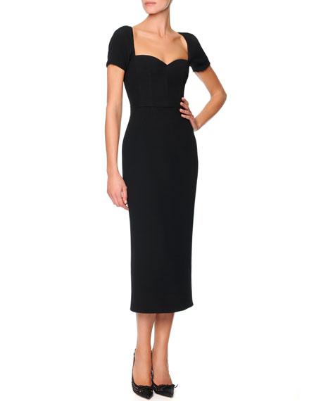Sicilian Short-Sleeve Sweetheart Sheath Dress, Black