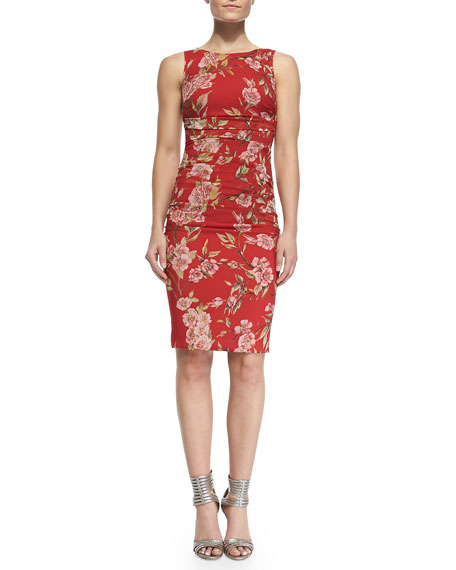 Sleeveless Floral-Print Dress with Ruched Center