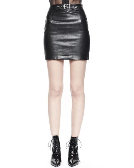 Buckled Leather Miniskirt
