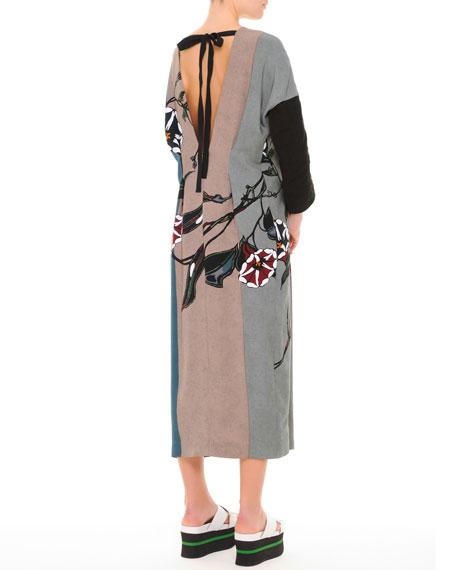 Long-Sleeve Floral Crepe Dress