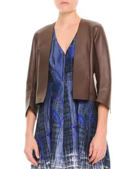 Minimalist 3/4-Sleeve Leather Jacket