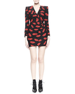 Saint Laurent Lips Long-Sleeve Crossover Dress