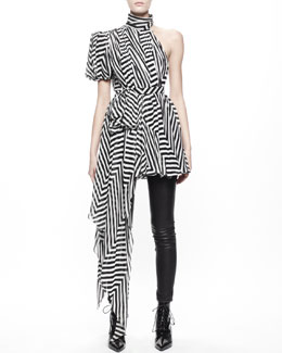 Saint Laurent Asymmetric Chevron Chiffon Dress/Top