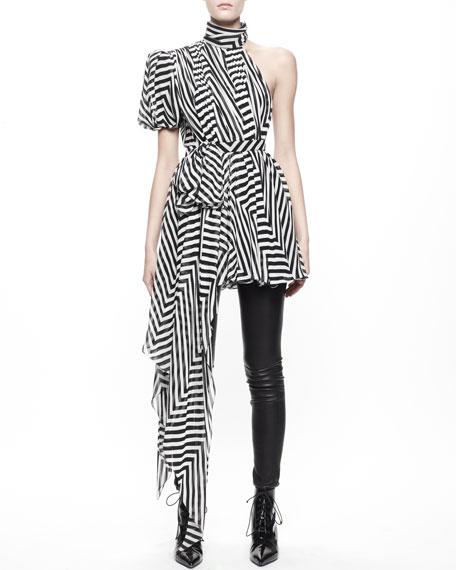 Asymmetric Chevron Chiffon Dress/Top