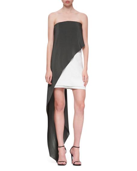 Strapless Draped Dress, Aqua/White