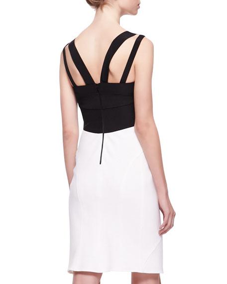 Double-Strap Colorblock Dress, Black/White