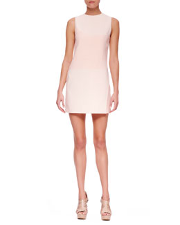 Narciso Rodriguez Crewneck Crepe Minidress, Blush