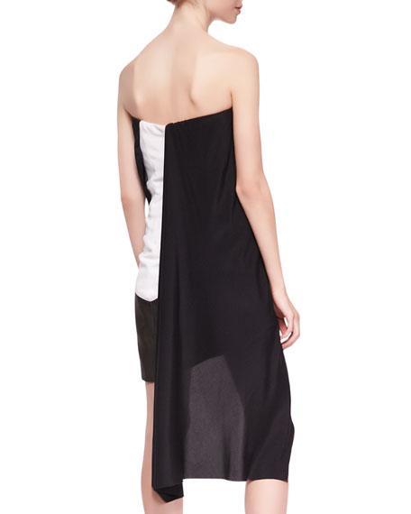 Strapless Crisscross Dress, Black/White/Multi