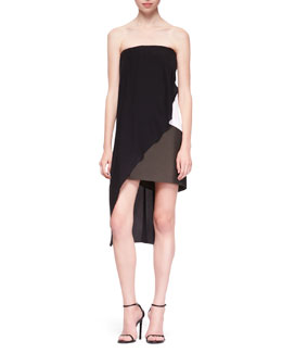 Narciso Rodriguez Strapless Crisscross Dress, Black/White/Multi