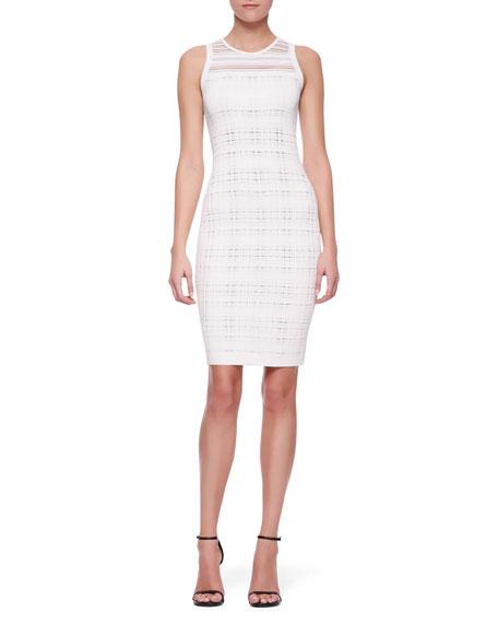 Sleeveless Transparent Sheath Dress, White