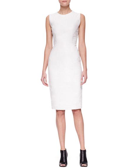 Seamed Cotton & Leather Column Dress
