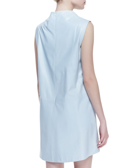 Sleeveless Lambskin Leather Dress, Cape Blue