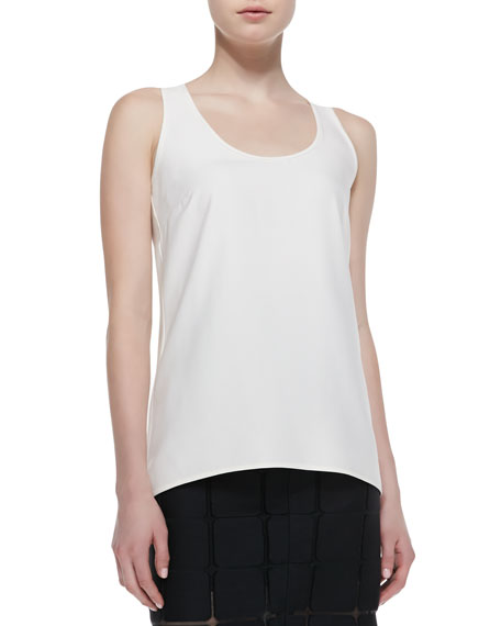 Reversible Scoop-Neck Silk Camisole, Ivory