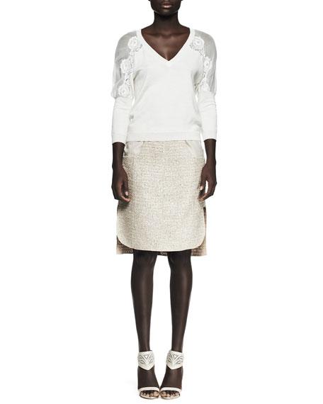 Tweed Patch-Pocket Pencil Skirt