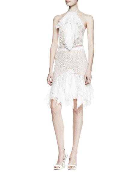 Ruffled Lace Halter Dress